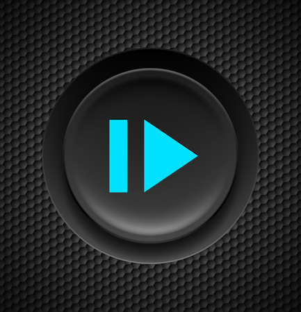 clicker: Black button with blue sign of fast forward  on carbon background.