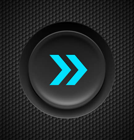 interface menu tool: Black button with fast forward sign in blue on carbon background.