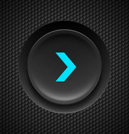 clicker: Black button with blue fast forward sign on carbon background.