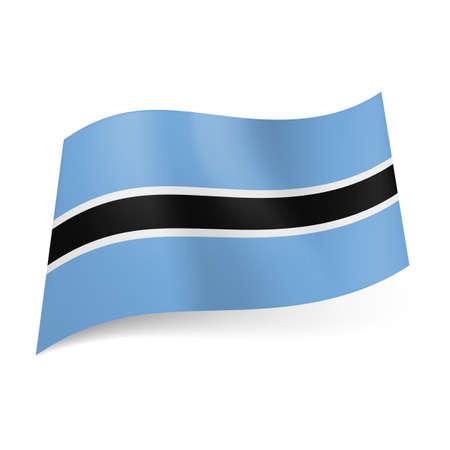 botswana: National flag of Botswana: white outlined horizontal black stripe in center of blue background.