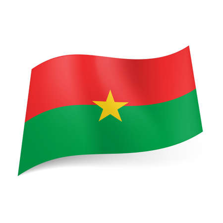 burkina faso: National flag of Burkina Faso: red and green horizontal stripes with yellow star in center.  Illustration