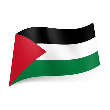 National flag of Palestine: black, white and green horizontal stripes with red triangle on left side.  Vector