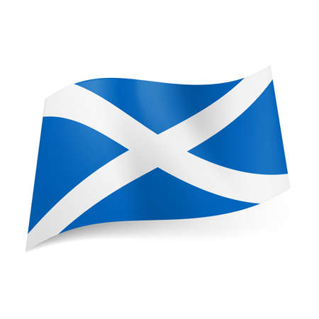 National flag of Scotland: white cross on blue background.