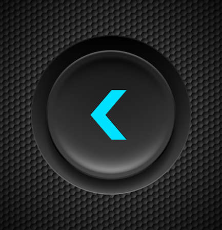 control tools: Black button with blue fast backward sign on carbon background.