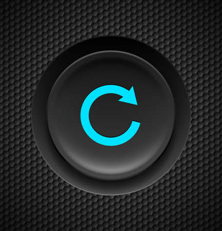 refresh button: Black button with blue repeat sign on carbon background.