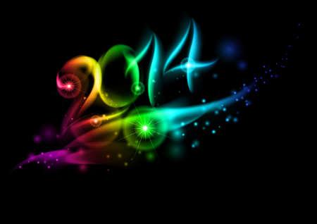 aerate: Luminoso nuovo anno 2014 numeri in luce colorata.