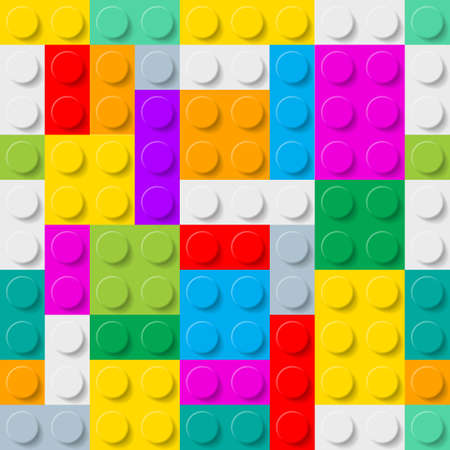 plastic made: Abstract plastic construction kit background made of colorful blocks. Illustration
