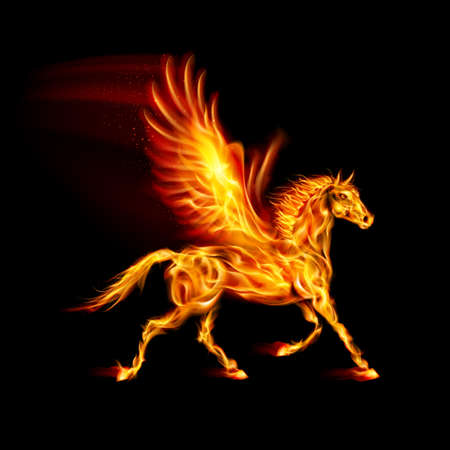 flamy: Fire Pegasus in motion on black background.