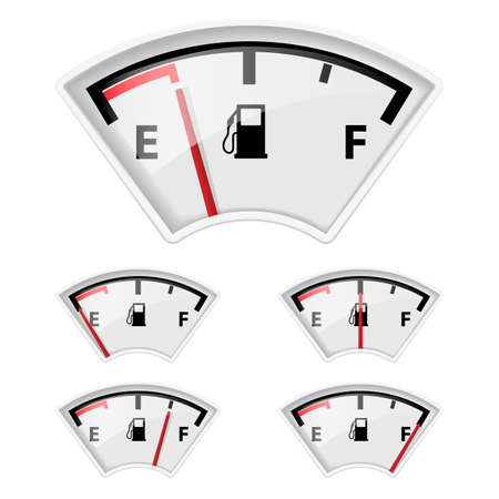 Set of fuel indicators with different petrol amount.  Vector