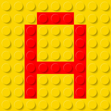 abc blocks: Red letter A in yellow plastic construction kit. Typeface  sample.