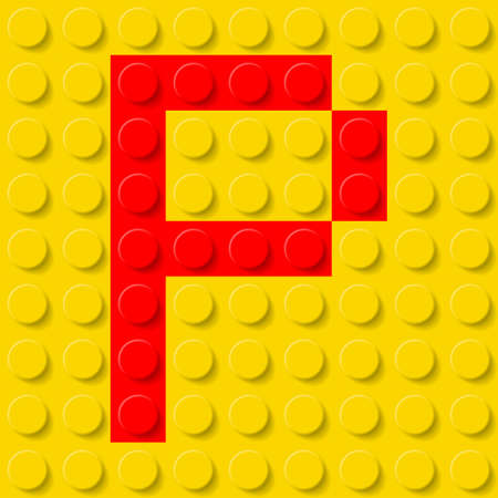 p buildings: Red letter P in yellow plastic construction kit. Typeface  sample.