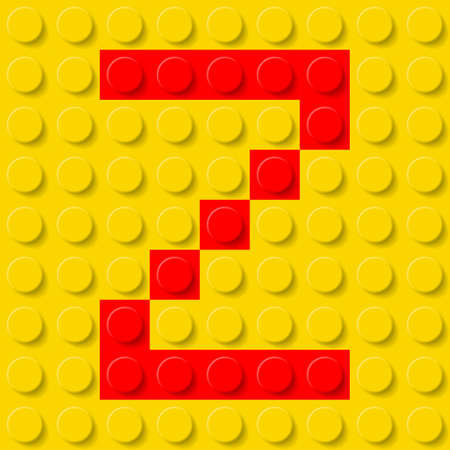 abc blocks: Red letter Z in yellow plastic construction kit. Typeface  sample.