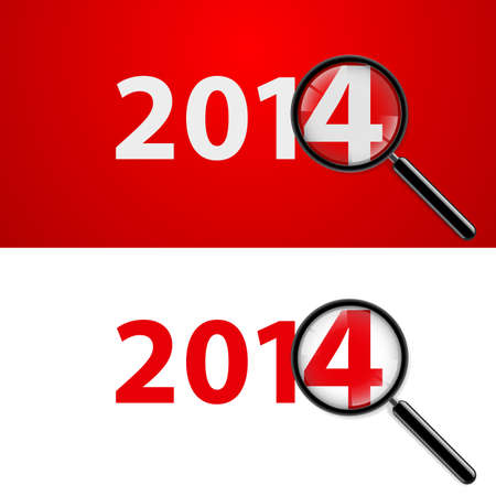 Numerals 2014 with magnifying glass in white and red.  Vector