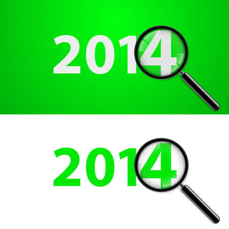 Numerals 2014 with magnifying glass in white and green.  Vector