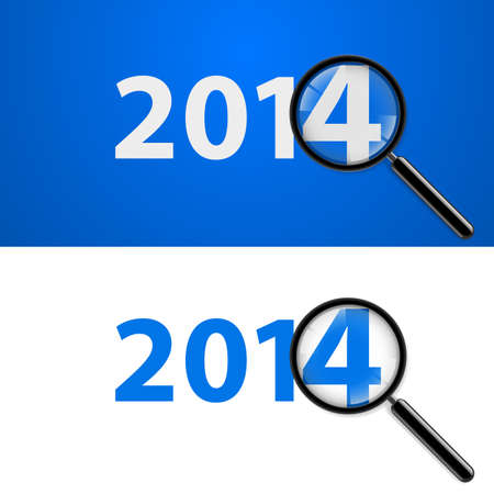 Numerals 2014 with magnifying glass in white and blue.  Vector