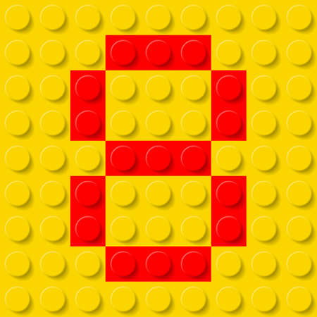 Red number eight in yellow plastic construction kit. Typeface  sample.