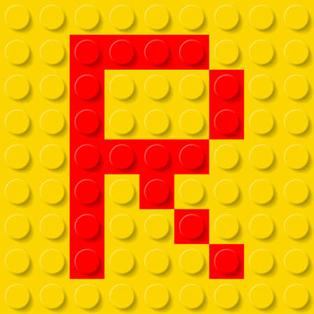 plastic texture: Red letter R in yellow plastic construction kit. Typeface  sample.