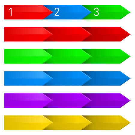 directed: Set of colorful arrows directed to the right. First line numbered. Illustration