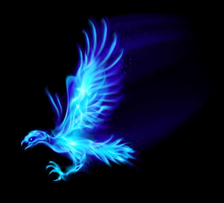creature of fantasy: Illustration of blue fire hawk on black background.  Illustration