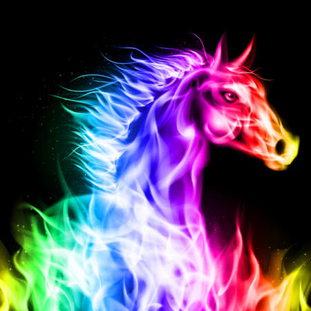 flamy: Head of fire horse in spectrum colors on black background.