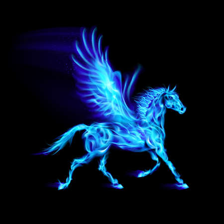 hoof: Blue fire Pegasus in motion on black background.
