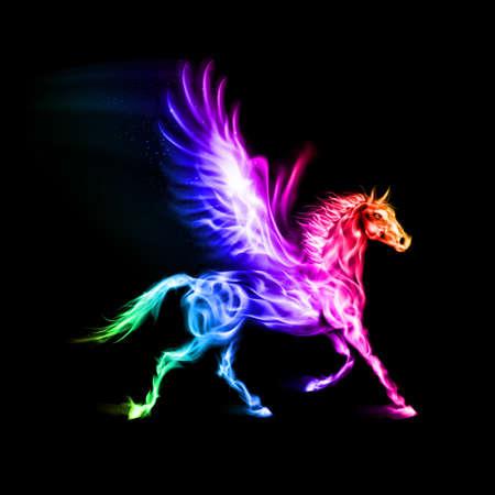 pegaso: Fuego Pegasus en colores del espectro en el fondo negro.