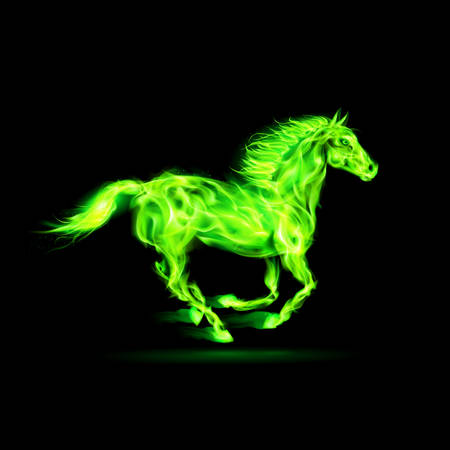Running green fire horse on black background. Vector
