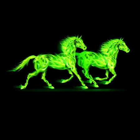 Two running fire horses in green on black background. Stock Vector - 22910086