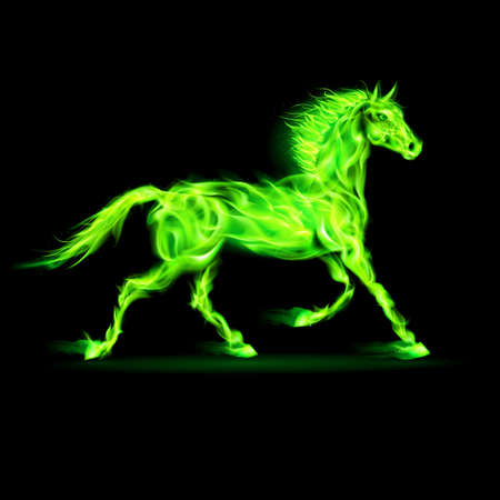 alight: Illustration of green fire horse on black background.
