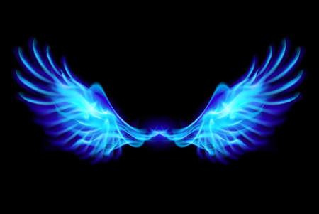 Illustratie van blauwe brand vleugels op balck achtergrond.