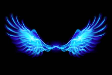 Illustration of blue fire wings on balck background.