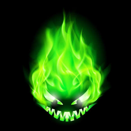 fake smile: Monster head blazing in green on black background.