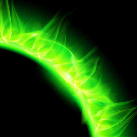 partial: Partial view of blazing solar corona in green. Illustration on black background.