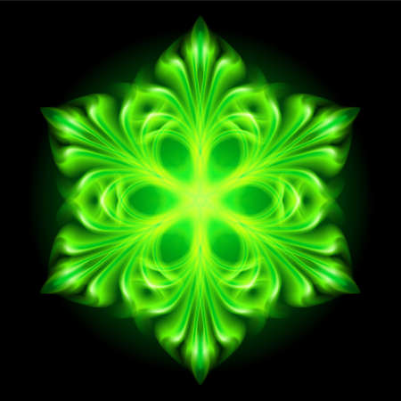 Beautiful green fire snowflake on black background. Stock Vector - 22910095