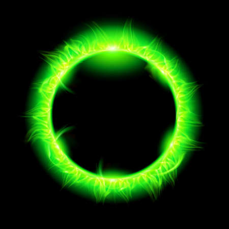 Blazing solar corona in green. Illustration on black background.  Vector