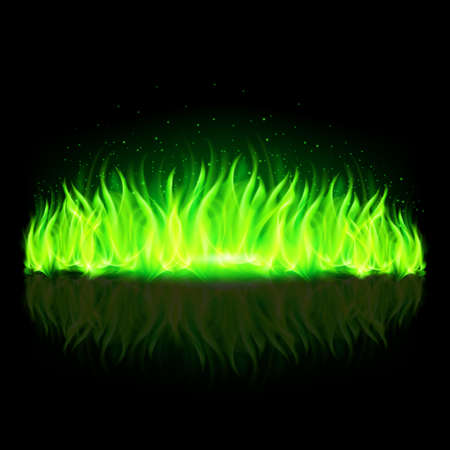 Green wall of fire with weak reflection on black background.