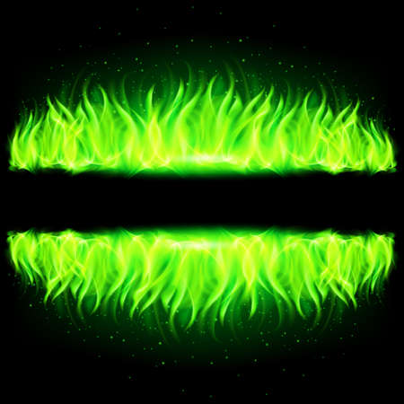 Two green walls of fire with weak reflection on black background.
