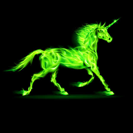 alight: Illustration of green fire unicorn on black background.