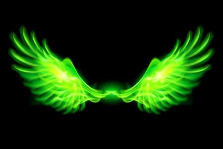 Illustratie van groene vuur vleugels op zwarte achtergrond.