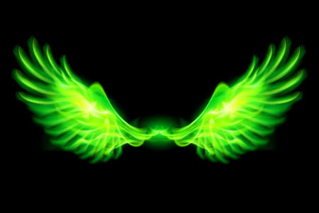 Illustration of green fire wings on black background. Illustration