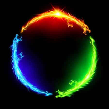 Trzy smoki ogień co kolorowe koła na czarnym tle. Ilustracje wektorowe