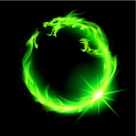 eastern zodiac: Fire Chinese dragon in green making circle on black background.