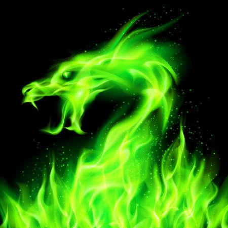 Tête de feu de dragon vert sur fond noir.
