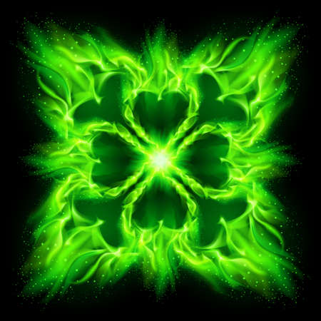 devilish: Green fire Gothic pattern on black background.