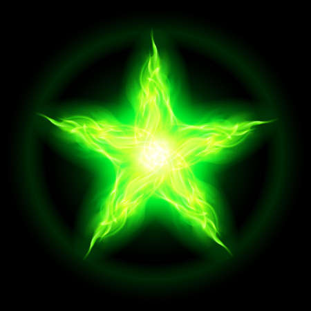 flamy: Illustration of green fire star on black background.