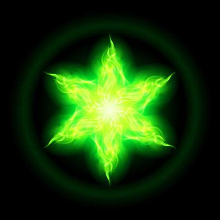 hexagram: Illustration of green fire hexagram star on black background.