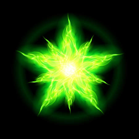 Illustration of green fire star with weak radiance on black background. Stock Vector - 23104299