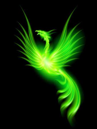 검은 배경에 녹색 불 피닉스의 그림입니다. 일러스트