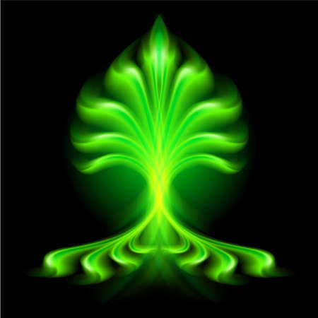Abstract green fire flower on black background. Vector