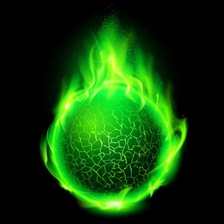 Ardiente bola de lava verde sobre fondo negro.